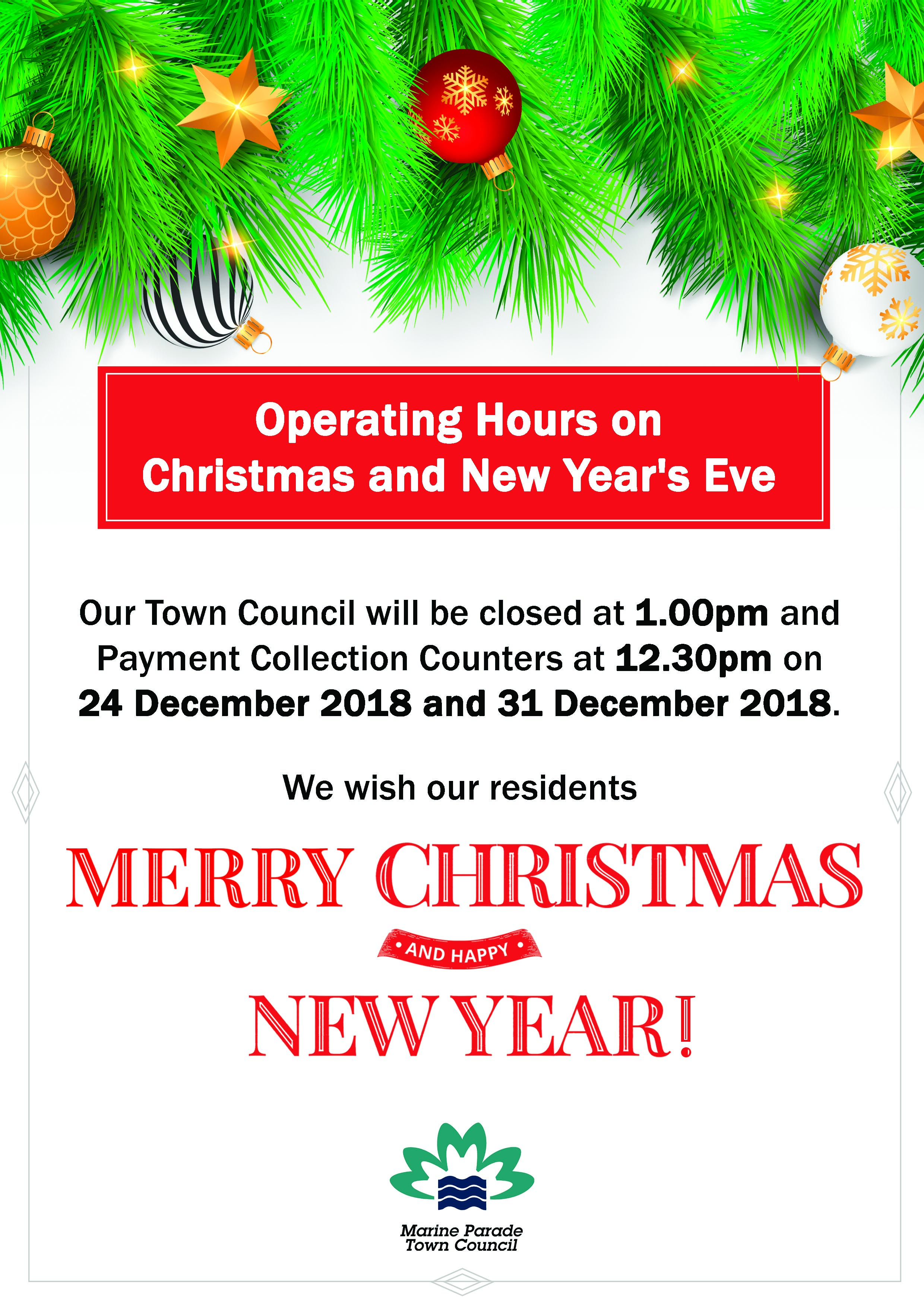 OPERATING HOURS ON CHRISTMAS AND NEW YEAR
